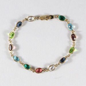 "Jewelry - 925 Gold Plate Multi-Colored Quartz Bracelet 7"""